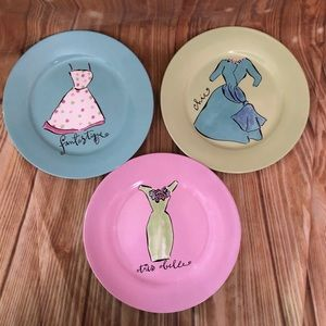 Rosanna French Fashion Multicolor Dessert Plates